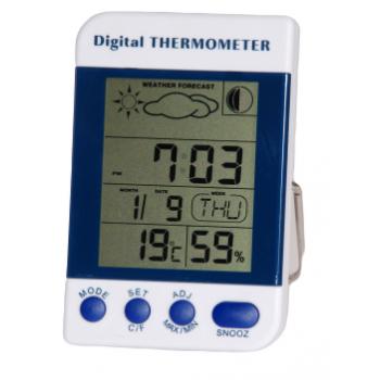 Termohigrómetro Lectura Digital + Reloj SH134